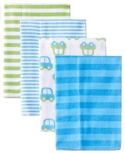 Baby Registry Must Haves - Gerber Baby Boys' 4 Pack Flannel Burp Cloths