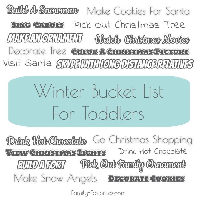 Winter Toddler Bucket List