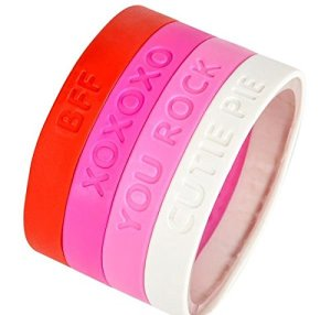 10 Under $10 - Valentine's Day Gifts For Kids - Pink and Red Rubber Bracelets