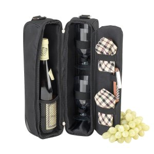 50 Valentine's Day Gifts For Her Under $50 - Deluxe Insulated Wine Tote with 2 Wine Glasses, Napkins and Corkscrew