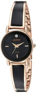 50 Valentine's Day Gifts For Her Under $50 - Diamond-Accented Dial Rose Gold-Tone and Black Bangle Watch