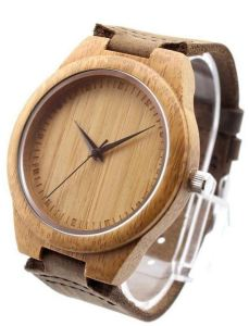 50 Valentine's Day Gifts For Him Under $50 - Retro Leather Fashion Bamboo Wooden Watch