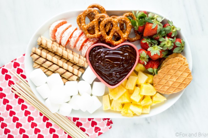 Valentine's Day Dinner Menus - Girls Night - Chocolate Fondue Dessert