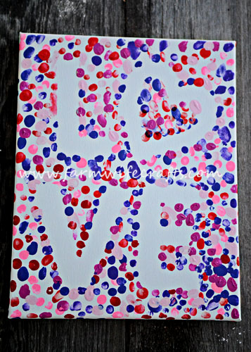 14 Valentine's Day Crafts For Toddlers - Fingerprint Love Canvas