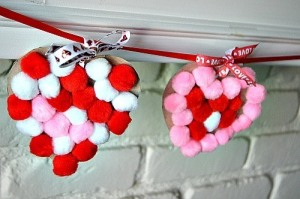 14 Valentine's Day Crafts For Toddlers - Sticky Pom Pom Hearts Garland