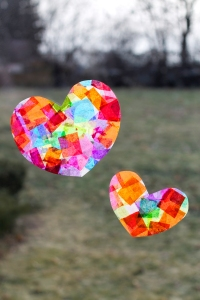 14 Valentine's Day Crafts For Toddlers - Rainbow Heart Suncatchers
