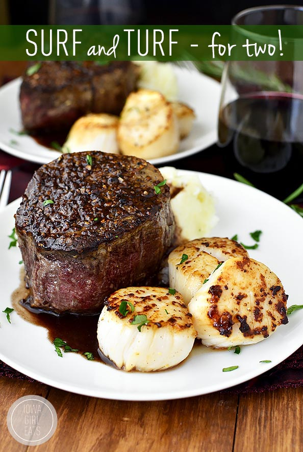 Valentine's Day Date Menu - Dinner For Two - Surf and Turf with Mashed Potatoes Main Course
