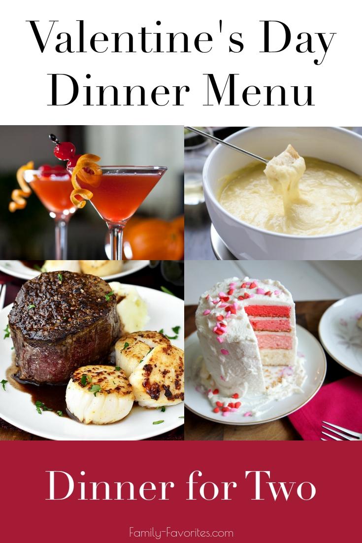 Valentine's Day Dinner Menus - Dinner for Two
