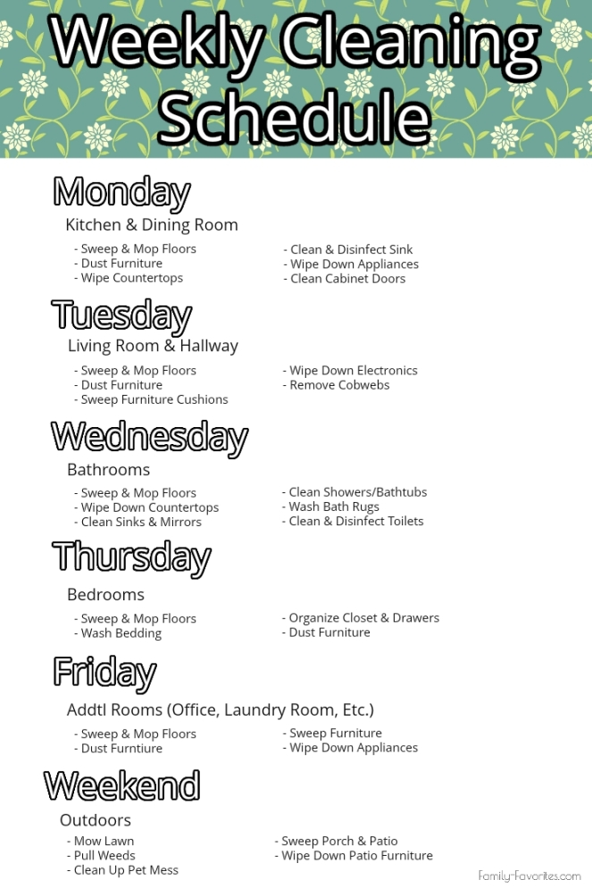 Weekly Cleaning Schedule - Family-Favorites.com