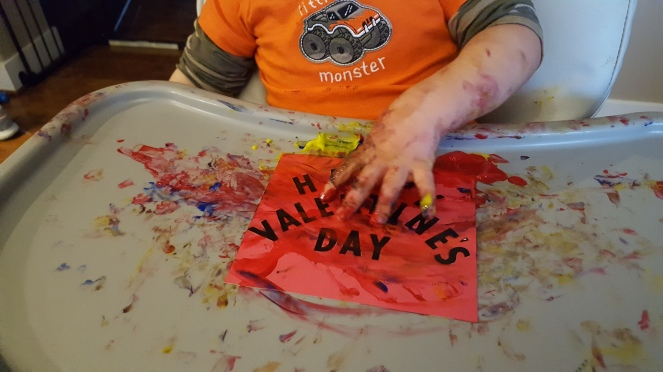 Toddler Craft - Valentine's Day Hand Print Card - Crafting