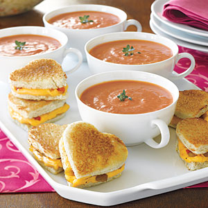 Valentine's Day Dinner Menu - Family Feast - Main Course - Mini Grilled- Cheese Hearts and Tomato Soup