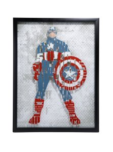20 Geek Gifts For Him Under $20 - Marvel Captain America Framed Glass Wall Art
