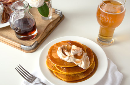 St Patrick's Day Breakfast Menu - Sweet Potatos Pancakes with Angry Orchard Syrup and Cinnamon Whipped Cream