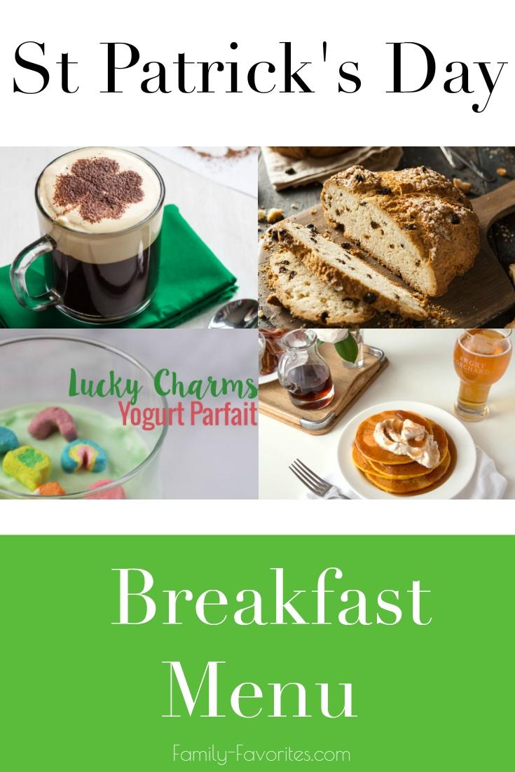 St Patrick's Day Breakfast Menu