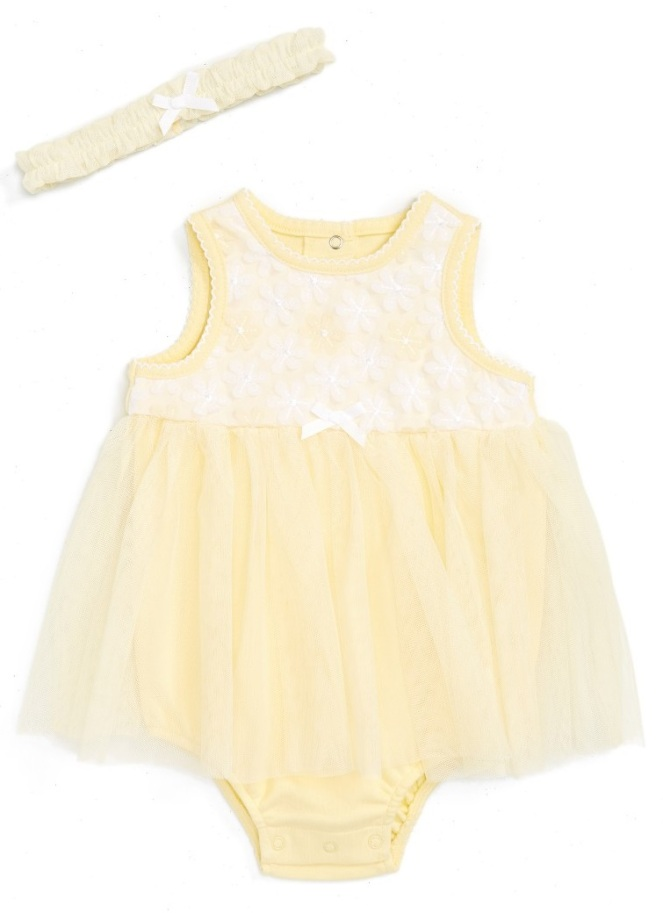 Little Me Daisy Mesh Skirted Bodysuit + Headband Set - Cute Baby Clothes Under $20 From Nordstrom's Half-Yearly Sale