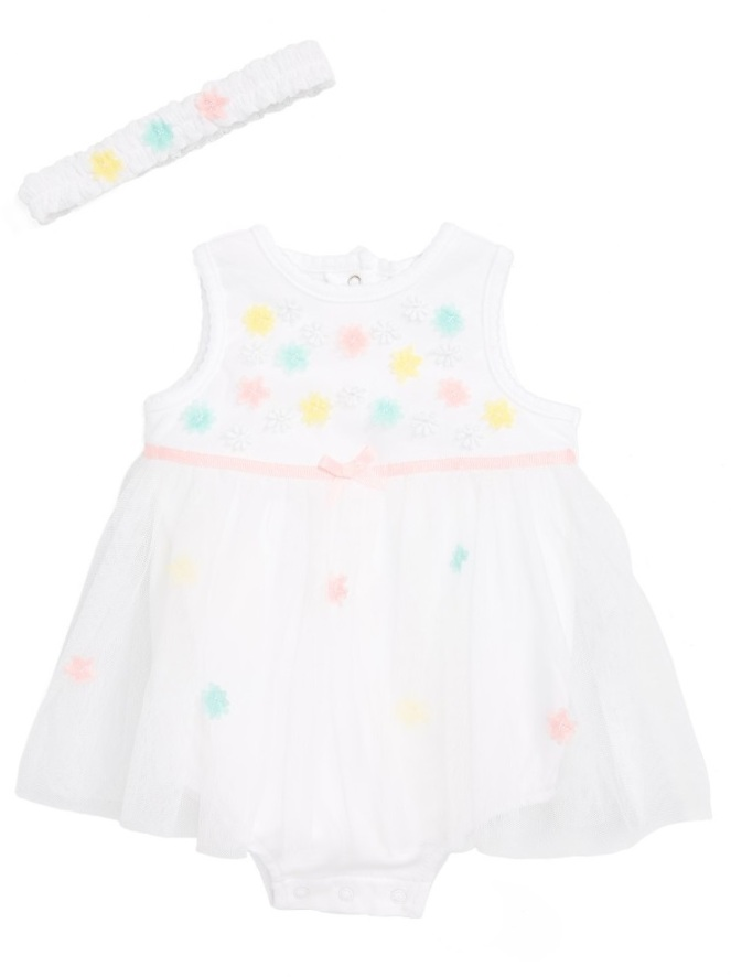 Little Me Floral Mesh Dress + Headband Set - Cute Baby Clothes Under $20 From Nordstrom's Half-Yearly Sale