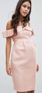 ASOS Maternity Bow Cold Shoulder Occasion Dress