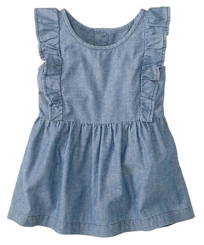 Hanna Andersson End Of Season Sale - Picks Under $20 - Girls Apron Top In Flecked Chambray
