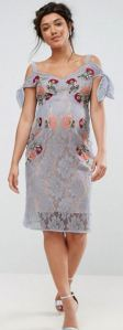 Hope & Ivy Maternity Cold Shoulder Embroidered Lace Dress