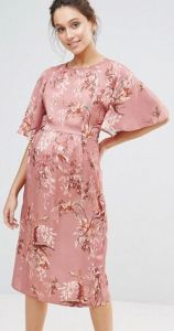 Hope & Ivy Maternity Floral Print Kimono Midi Dress