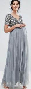 Maya Maternity V Neck Embellished Bodice Maxi Dress