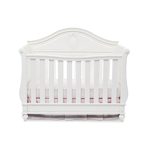 5 White Cribs For Girl Nursery - Disney Princess Magical Dreams 4-in-1 Convertible Crib by Delta Children - White Ambiance